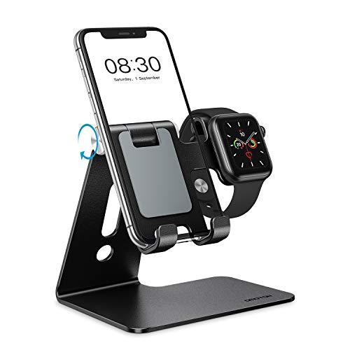 OMOTON 2 in 1 Supporto per Apple Watch, Supporto Regolabile Scrivania per iWatch e iPhone, Dock per Apple Watch 5/4/3/2/1(38 mm/40 mm/42 mm/44 mm), Stand Compatibile con iPhone 11 PRO, XS Max, Nero