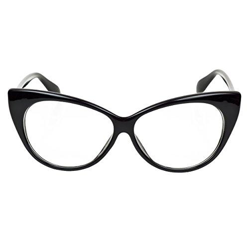 iB-iP Mujer Ojos De Gato Lente Transparentes, Negro