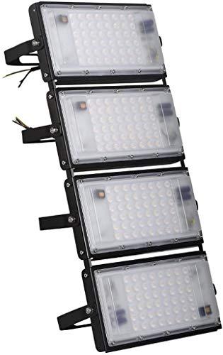 Luces de inundación LED de 200 W, luces de seguridad súper brillantes de 16000 lm, iluminación exterior impermeable IP65, luces de pared blancas cálidas (2800-3000 K) para garaje, patio, patio, almacé