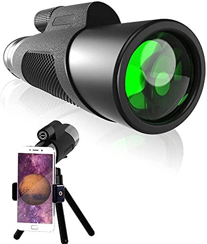 GWDFSU Telescopio Monocular para Teléfono Móvil, Monocular Inteligente con Soporte para Smartphone y Trípode Ajustable, Monocular Impermeable para Adultos con Visión Nocturna16 * 50