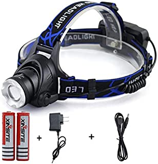 Headlamp 4 Modes, Super Brightest Water-proof Flashlight With Zoomable led With 18650 Rechargable Battery