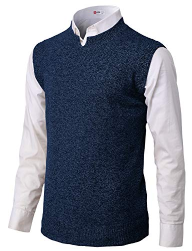 H2H Mens Casual Soft Acrylic Knitted Solid Pullover Cable Sweater Links-Vest Navy US M/Asia L (KMOV183)