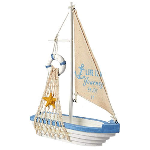 Juvale Sailboat Model Decoration - Wooden Sailing Boat Home Decor Set, Beach Nautical Design, Navy Blue and White with Lifebuoy, 12.5 x 8.25 x 3 Inches