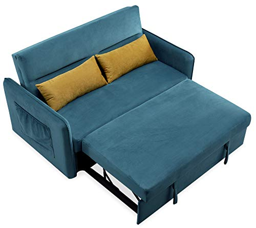 COODENKEY Compact Sleeper Sofa Bed Velvet Pull-Out Couches...