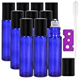 Botellas Roll On para Aceites Esenciales, 10ml (Azul Cobalto, Vacías, 10 Piezas) - Bolita de Acero Inoxidable, Abridor de Botellas y gotero de pipetas de plástico