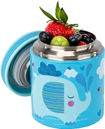 Blue Ele BE02 Vacuum Insulated Jar & Thermos for Kids, BPA-Free Lunch Containers, Double-Wall 304 Food Grade Stainless Steel, 14 oz Keep Hot 12hr & Cold 24hr, Blue with Pattern