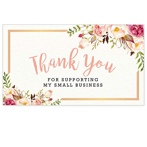 Modern 5th - Thank You for Supporting My Small Business Cards, Flower Design (3.5 x 2 Inches - 100 Business Card Sized) for Online, Retail Store, Handmade Goods, Customer Package Inserts and More