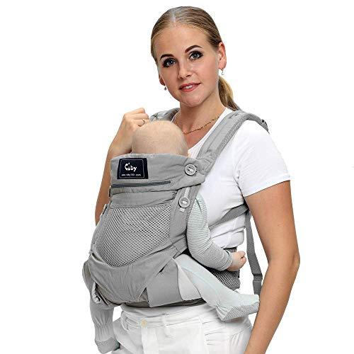 Cuby Ergonomische Babytrage, Rucksack Vorder- und Rückseite für Kleinkinder bis Kleinkinder,Soft and Breathable (Klassisches Grau)