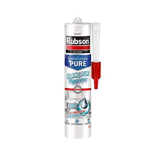 Rubson Mastic Bain & Cuisine Blanc Pur Hygiène, mastic étanche et anti-moisissures à base de silicone, mastic sanitaire blancheur longue durée, 280 ml