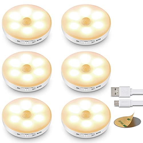 Luz Nocturna Infantil,ICEKO-KN Luces LED con Sensor de Movimiento (6 PCs ), Luz Armario, Lampara USB Recargable, Luz LED Adhesiva para Armarios Pasillo, Escalera, Sótano, Cocina, Garaje