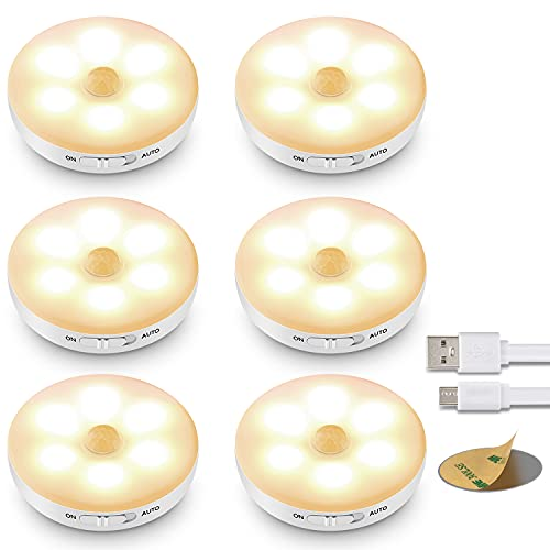 (6 Pezzi)Lampada LED con Sensore di Movimento,Luci LED a Batteria Ricaricabile,Luce Armadio Interna con Striscia Magnetica Adesiva per Luci Armadio, Scale, Corridoi, Cucina, Garage ecc-Auto/On/Off