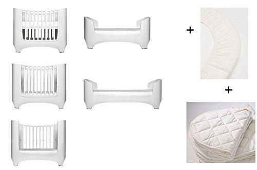 Blanc Leander pour bébé et lit bébé + 1 kit (= 2 pièces) original de draps housse dans la taille bébé + 1 surmatelas dans la taille bébé