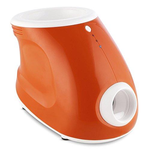 OneConcept Ballyhoo automatischer Ballwerfer Hundetrainingsgerät Ballwurfmaschine für Hunde (für drinnen und draußen, Netz- und Batteriebetrieb, 3 Entfernungsstufen) orange
