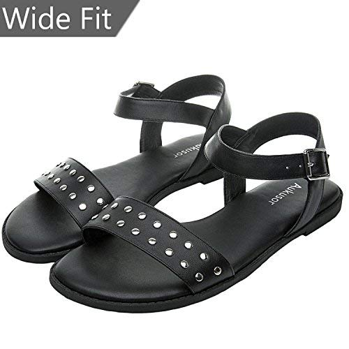 39817a3f103 Women s Wide Width Flat Sandals - Open Toe One Band Ankle Strap Flexible  Buckle Gladiator Casual