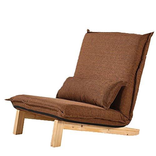 N/Z Equipo Diario Sillón reclinable Sofá Perezoso japonés Sillón de balcón de Ocio Sillón Plegable Silla cómoda (Color: Marrón Tamaño: 80 * 70 * 75cm)