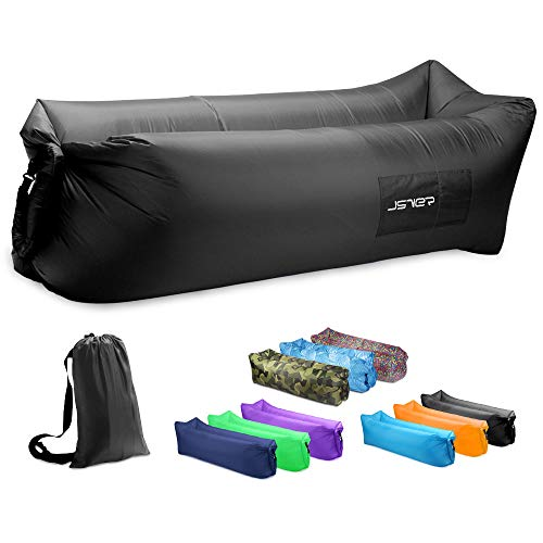JSVER Inflatable Lounger Air Sofa with Portable Package for Beach, Travelling, Hiking, Camping, Park (Black)