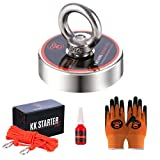 King Kong Magnetics Magnet Fishing Kit - 2.36 inch Strong Neodymium Fishing Magnets w/ 400 lb Pulling Force - Gloves, Nylon Rope, Thread Locker & Carabiners Included