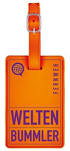 moses. Fernweh Kofferanhänger - Weltenbummler in knalligen Farben Gepäckanhänger, 11 cm, Orange