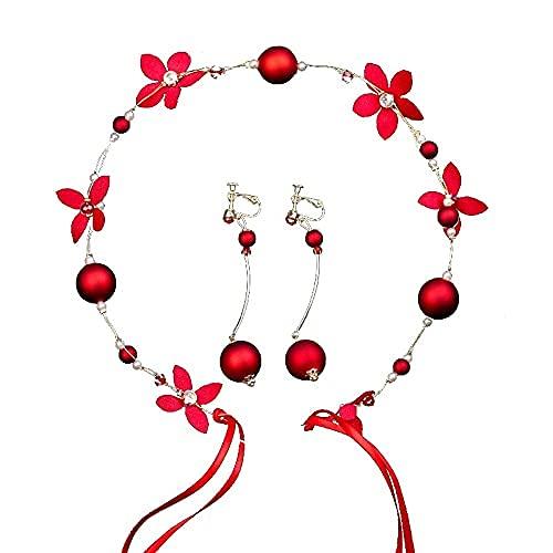 Juego de 3 diademas de tiara rojas, conjuntos de perlas y flores, joyería para el cabello para las mujeres, novia, hecho a mano, accesorios para el cabello de boda, diademas