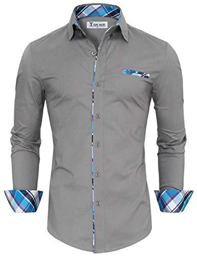 TAM WARE Mens Premium Casual Inner Contrast Dress Shirt TWNMS310S-1-GRAY-XL