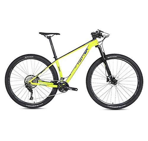 """STRIKERpro 27,5/29"""" Bicicletas de Fibra de Carbono de los Hombres para una trayectoria, Rastro y montañas Bastidor de suspensión, (Amarillo),33speed,27.5×15"""