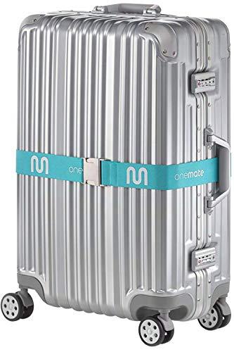 ONEMATE Koffergurt-Set mit Metallschnalle – Unfassbar Robustes Kofferband für 100{7042566116fb83071a5bcefb2202ae5915107e6c8e810619d8c1f3519d837bdb} Sichere Reisen - blau (1 Band)