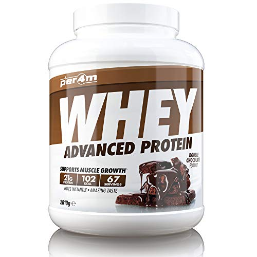 per4m Whey Advanced Protein Powder, 67 Servings of Delicious Muscle Building Protein, Double Chocolate, 2010g