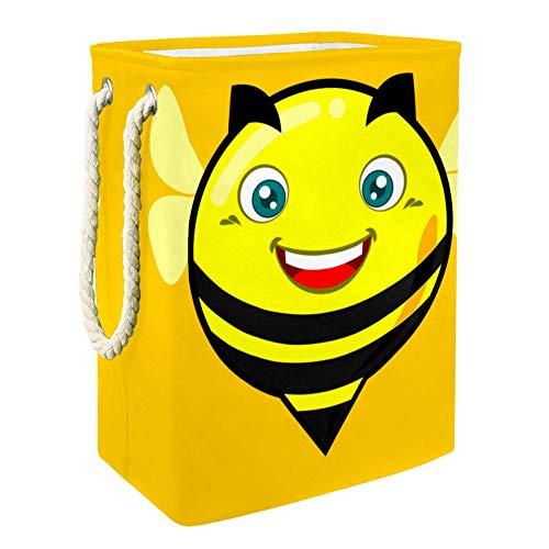 Cartoon Fat Bee Yellow Wäschekorb Sorter Korb Bin Faltbare mit Waschen Lagerung Schmutzige Kleidung Tasche für Badezimmer Schlafzimmer Home 49x30x40.5cm