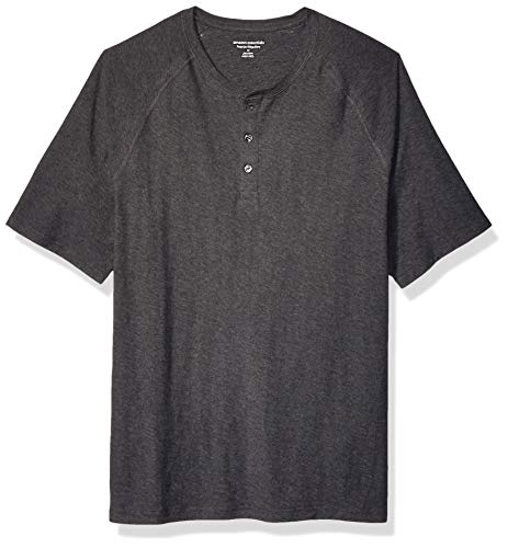 Amazon Essentials Men's Regular-Fit Short-Sleeve Slub Henley T-Shirt,Charcoal Heather,Large
