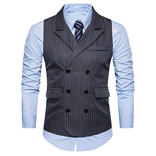 BHYDRY Men Formal Tweed Check Double Breasted Waistcoat Retro Slim Fit Suit Striped Jacket Cotton Outwear