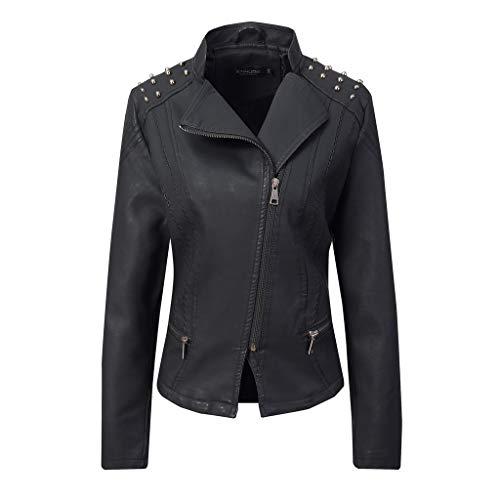 Reooly Mujer Otoño Casual Stand Collar Zipper Mujer Moto Chaqueta de Cuero(B-Negro,X-Large)
