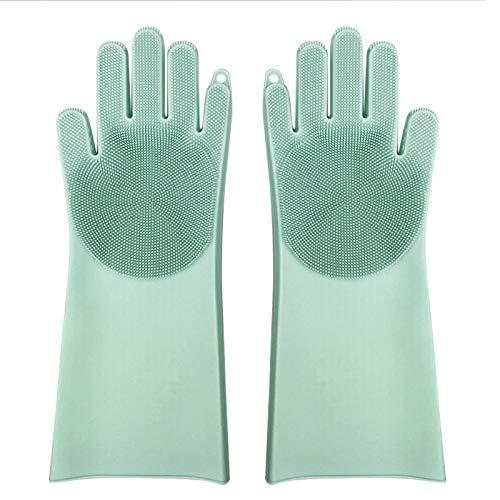 AAERP 1 paar siliconen afwashandschoenen met Wash Scrubber reinigingshandschoenen BPA-vrij hittebestendige handschoenen voor keuken afwassen dierverzorging badkamer autowas