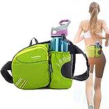 Aoweika Cinturón para correr con soporte para botella de agua riñonera de cintura impermeable soporte para teléfono móvil hombres mujeres perros senderismo camping escalada viajes ciclismo verde