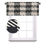 Cenefas cortas a cuadros, rayas diagonales y cuadrados monocromo Sketchy Geométrico Grid Revival Tile, ahorro de energía cortinas para cortinas de baño, ancho 52 x largo 12 pulgadas negro y blanco