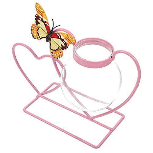 BESTonZON Jarrones de Vidrio con Forma de Corazón Soporte de Hierro Jarrón Hidropónico Jarrón de Planta de Aire Jarrones de Exhibición Planta Contenedor Mesa Centros de Mesa