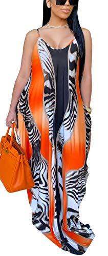 Women's Bodycon Long Maxi Stripes Dresses Casual Spaghetti Straps Plus Size Floor Length Sundresses Sexy Summer Dress with Pockets Black Orange