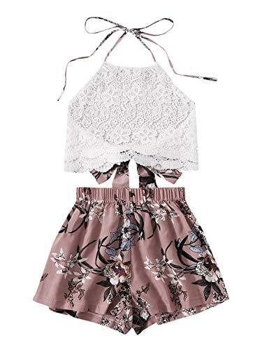 SheIn Women's Floral Twopiece Sleeveless Halter Lace Cami Crop Top and Short Set Dark Pink Flower Medium
