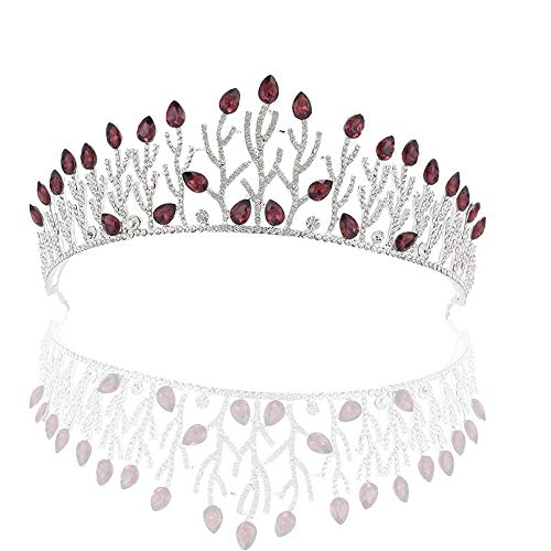 Tiara di nozze Corona Tiara Crystal Crowns Diademi Accessorio per capelli da sposa Prom Party Birthday Princess Tiara per ragazza e donna Accessori da sposa ( Color : Dark red , Size : 16*5.5cm )