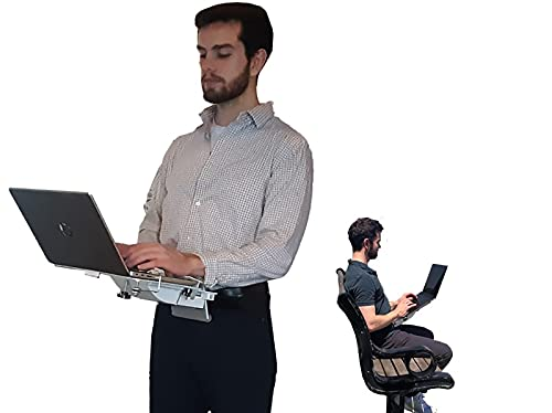 XTOP 1.0 - Advanced Portable Desk for Laptop Computers, Gravity Defying Mobile Desk for Laptops - for use While Standing, Walking Around, Sitting, Reclining or Lying in Bed (Silver)