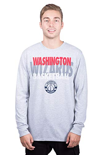 Ultra Game NBA Washington Wizards Mens Supreme Long Sleeve Pullover Tee Shirt, Heather Gray, X-Large