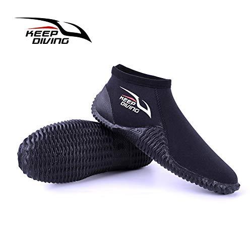 Leoie - Zapatos de Buceo de 4 mm de Neopreno Antideslizantes de Nailon para Playa, Surf, natación, Negro S (37-38), Medium
