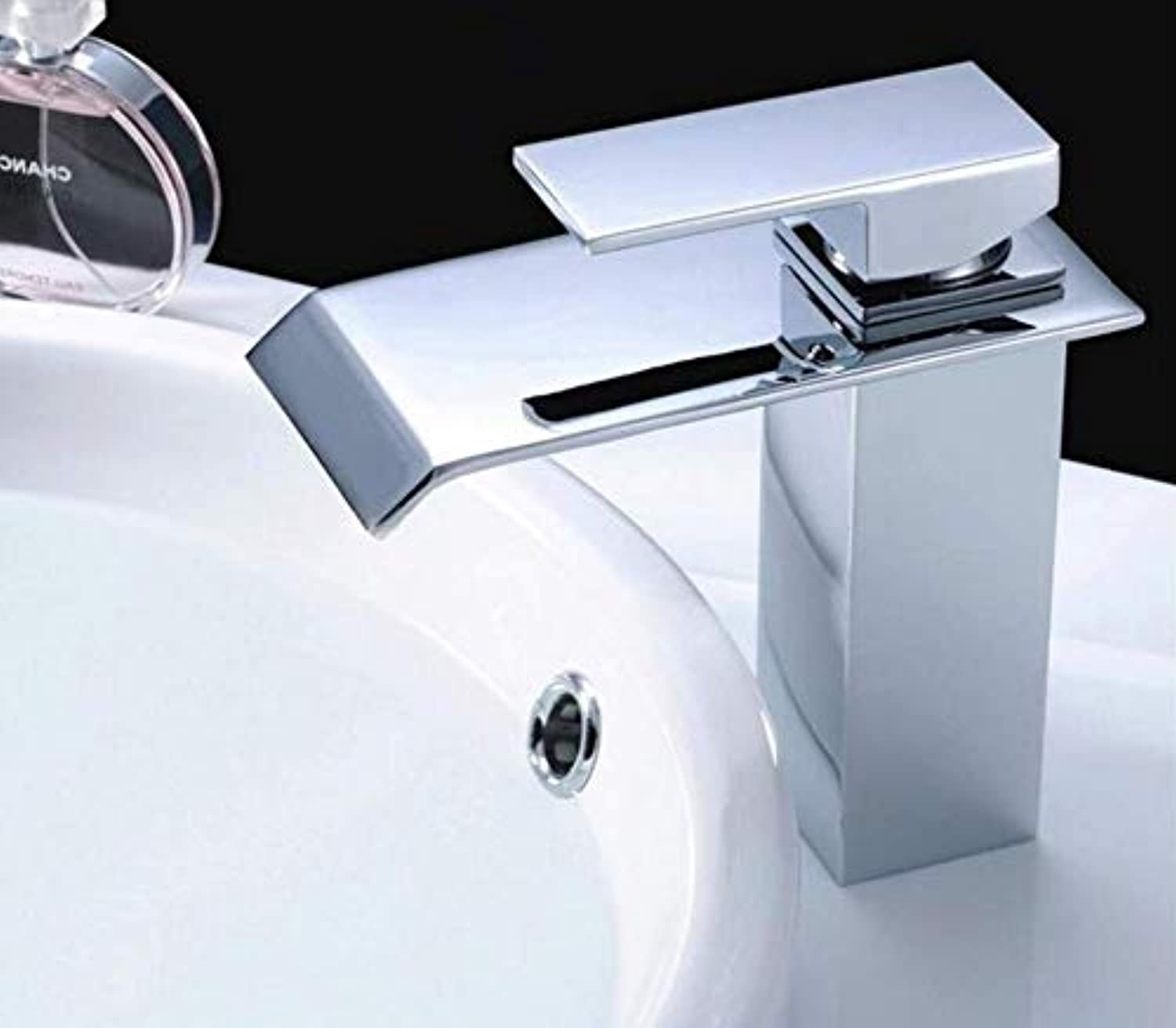 Brass Wall Faucet Chrome Brass Faucet Cold Hot Deck Mounted Square Vessel Faucet Sink Wash Basin Faucet