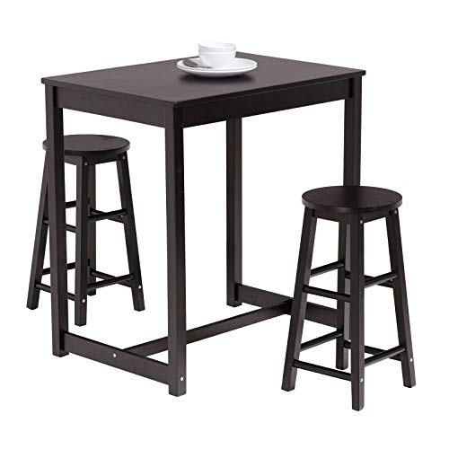 Mecor 3-Peice Pub Table Set, Wood Dining Breakfast Table Set with 2 Counter Stools for Home Kitchen Breakfast Furniture,Black