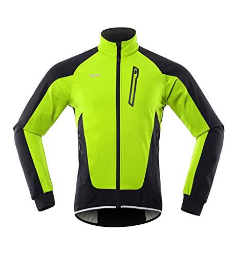N/V Giacca da ciclismo invernale da uomo, in tessuto non tessuto softshell, per mountain bike, outwear, antivento, impermeabile verde M