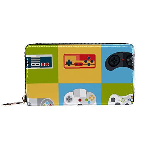 Damen-Geldbörse mit Reißverschluss und Handy-Clutch, Gamepad-Icon-Set, Reise-Geldbörse, Leder-Clutch, Kartenhalter, Organizer, Armbänder