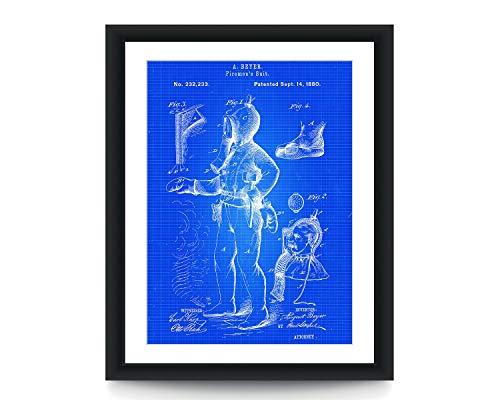 Brandweerman pak 1880 Patent Poster Brandweerman Muur Kunst Patent Poster Brandweerman Gift Patent Art Poster Brandweer afdeling