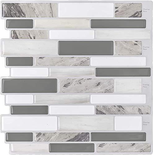 HUE DECORATION Peel and Stick Backsplash Tile for Kitchen, 3D Stick on Decorative Vinyl Kitchen Backsplash, Subway Tiles Backsplash, Smart Sticker Tile for RV Kitchen 10  H x 10  L Pack of 5