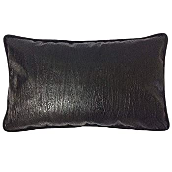 pillowerus Black Artificial Leather Textured-Striped Throw Pillow Case Slipcover 12x20 Inch Lumbar Art Deco Decorative Bolster Kidney Cushion Cover with Piping for Bed Couch Sofa Chair Car Seat