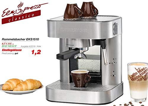 ROMMELSBACHER Espresso Maschine EKS 1510 - Siebträger, Filtereinsatz für 1 bzw. 2 Tassen, Vorbrühfunktion, 19 Bar Druck, Düse für Milchschaum/Heißwasser, 1,5 Liter Wassertank, Edelstahl