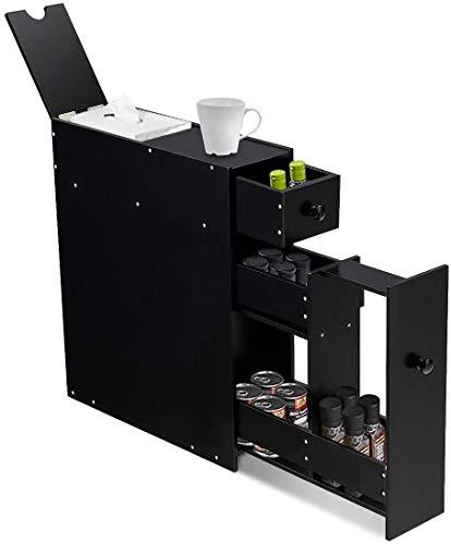 RELAX4LIFE Badschrank aus Massivholz, Mehrzweckschrank mit Schubladen, Seitenschrank für Küche & Bad & Wohnzimmer, Organizer für Bad-Zubehör | Zeitschrift | Dekos, 48,5 x 16 x 58 cm (Schwarz)